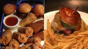 Is The North Star's Joey Chestnut Sampler or CBS Scene's Pastrami Burger the Better Sports Bar Dish?