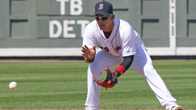 Boston Red Sox shortstop Jose Iglesias fields a ground ball hit by Baltimore Orioles batter Jason Pridie in the seventh inning of a Grapefruit League spring training game at JetBlue Park at Fenway South in Fort Myers, Fla. on Tuesday, March 19, 2013.
