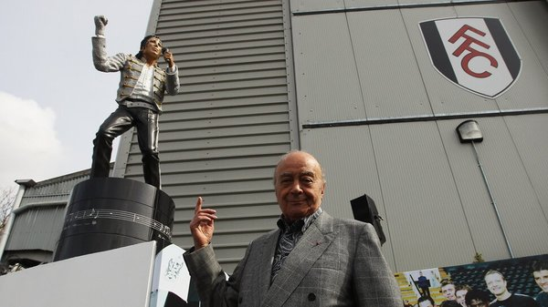 Fulham Michael Jackson Statue and Mohamed Al Fayed large