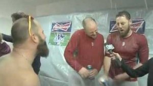 Shirtless Mike Napoli Interrupts Jenny Dell Interview With Beer Shower, Soaks Jon Lester, John Lackey (Video)