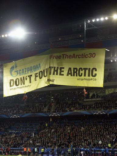 Greenpeace Gazprom protest banner