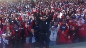 Bullpen Cop Steve Horgan Poses with Thousands of Fans at Start of Red Sox' Championship Parade (Photo)