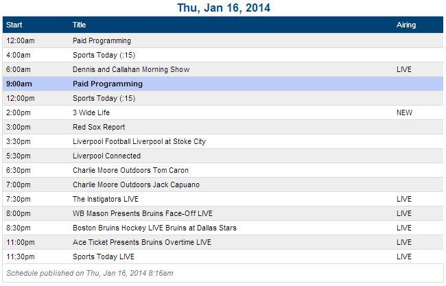 1-16 schedule
