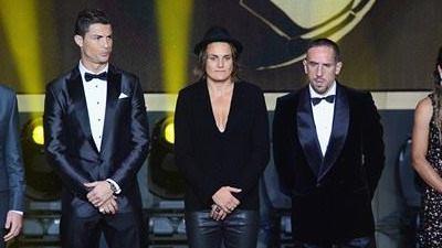 Franck Ribery, Cristiano Ronaldo and Nadine Angerer