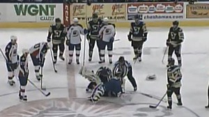 AHL Goalie Fight: John Gibson, Jeff Deslauriers Throw Down At Center Ice (Video)