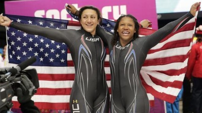 Elana Meyers (left) and Lauryn Williams (right) win silver in women's bobsledding