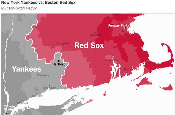 boston vs new york map Interactive Map Shows Border Between Red Sox Yankees Fans Photo boston vs new york map