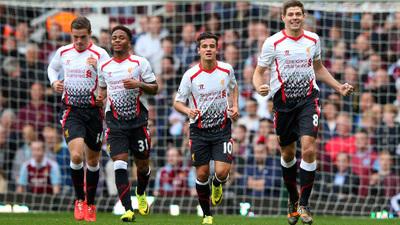 Steven Gerrard, Jordan Henderson, Raheem Sterling and Philippe Coutinho