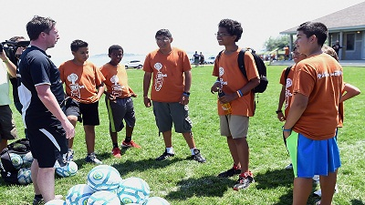 Robbie Fowler And Ian Rush coach Children At Soccer Camp