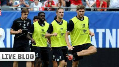 Steven Gerrard Jordan Henderson Kolo Toure Sebastian Coates Liverpool-Olympiacos 2014