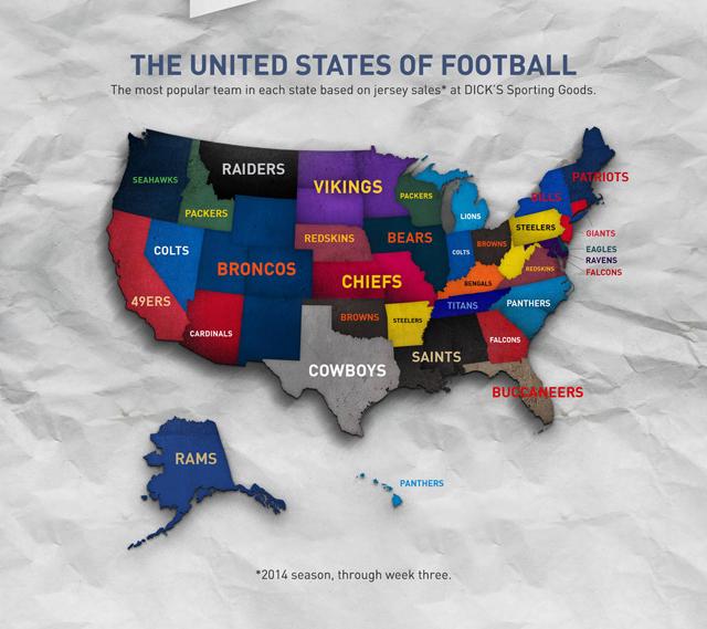 NFL Jersey Sales Map