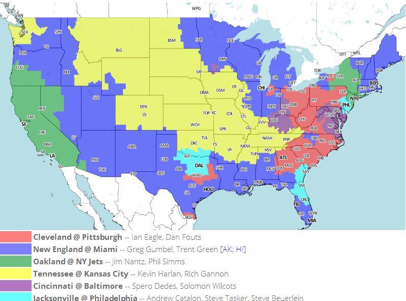 NFL Week 1 TV Schedule Map: Patriots-Dolphins Dominates ...