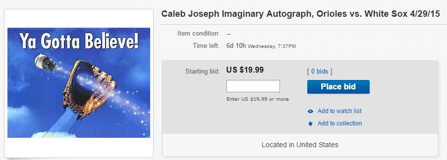 Caleb Joseph autograph