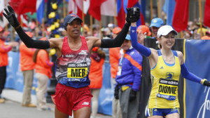 Meb Keflezighi, Hilary Dionne Combine On Special Boston Marathon Finish
