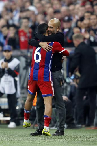 Pep Guardiola and Thiago Alcantara