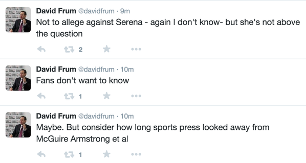 David Frum accuses Serena Williams of doing steroids
