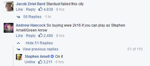 Stephen Amell could be in WWE 2K16