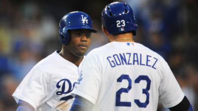 Los Angeles Dodgers outfielder Carl Crawford and first baseman Adrian Gonzalez