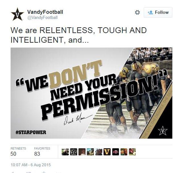 Vanderbilt football tweet