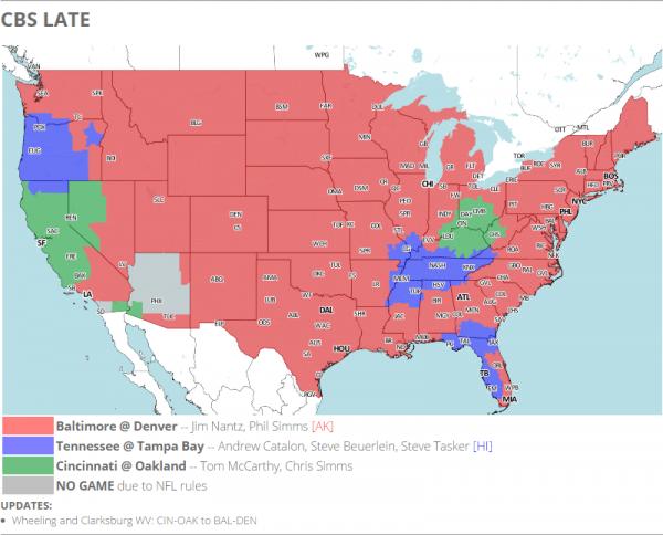 CBS Coverage Map Week 1
