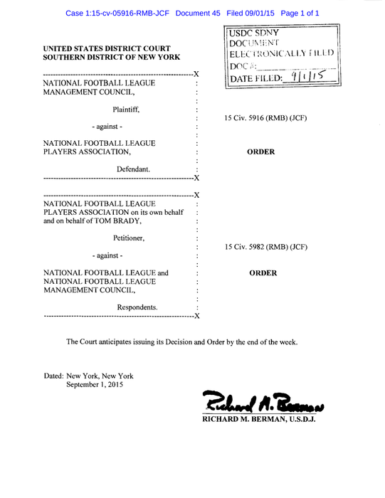 Judge Richard Berman Deflategate order