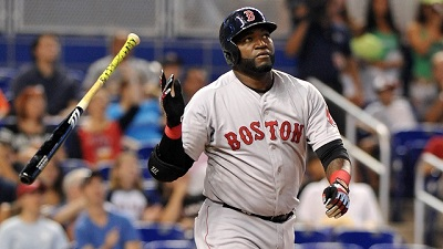 Aug 12, 2015; Miami, FL, USA; Boston Red Sox first baseman David Ortiz (34) hits a solo home run during the second inning against the Miami Marlins at Marlins Park. Mandatory Credit: Steve Mitchell-USA TODAY Sports
