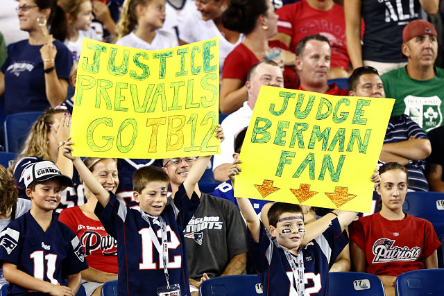 New England Patriots fans supporting Tom Brady