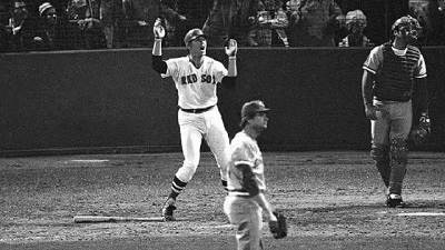 Carlton Fisk hits a walk-off home run in Game 6 of the 1975 World Series. Photo via Twitter/@isaacfromCT