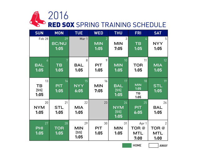 Boston Red Sox spring training schedule