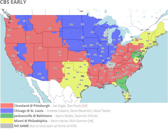 Coverage map for CBS's early NFL games.