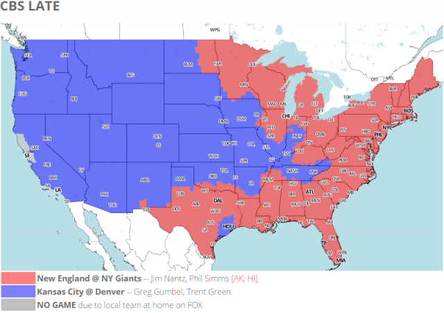 Coverage map for CBS's late NFL games.