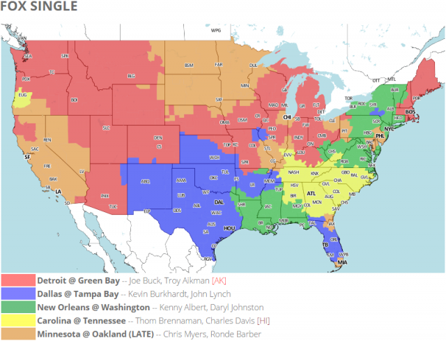Coverage map for FOX's single NFL package.