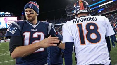 Patriots quarterback Tom Brady and Broncos QB Peyton Manning