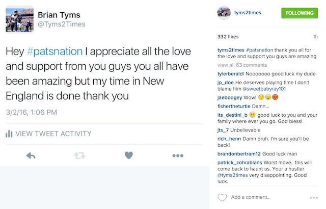 Brian Tyms Instagram farewell