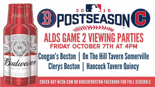 Budweiser Red Sox Game 2 viewing parties graphic