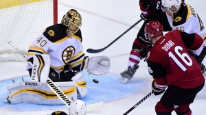 Tuukka Rask Makes Save On Max Domi, Stops Follow-Up Against Coyotes
