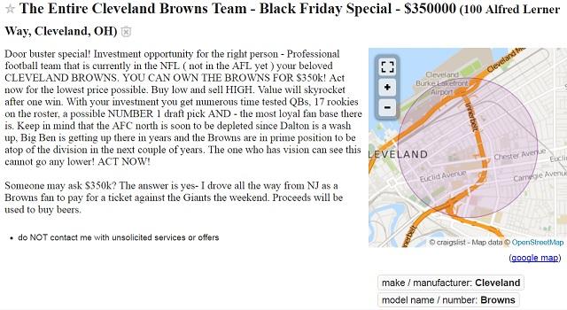 Cleveland Browns Craigslist ad