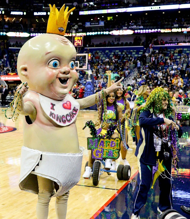 New Orleans Pelicans mascot for Mardi Gras the King Cake Baby