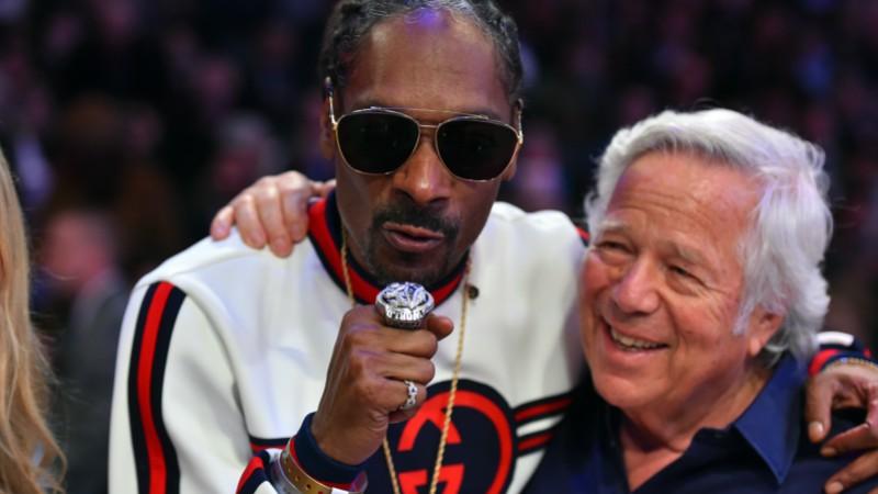 New England Patriots owner Robert Kraft and recording artist Snoop Dogg