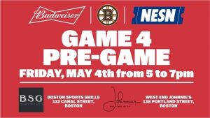 Boston Sports Grille, West End Johnnie's To Host Bruins-Lightning Game 4 Pregame Parties