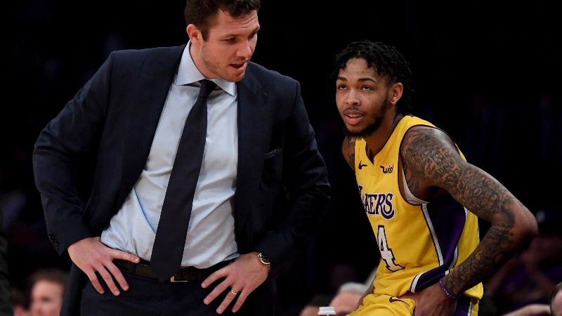 Los Angeles Lakers head coach Luke Walton (L) and forward Brandon Ingram