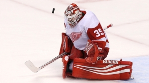 Red Wings' Jimmy Howard Makes Big Save On David Backes In Win Over Bruins