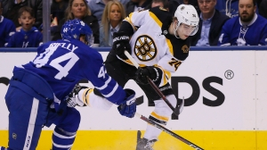 Jake DeBrusk Sets Up David Krejci's Secord Period Goal Vs. Maple Leafs
