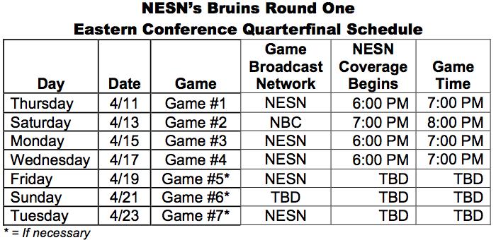 NESN's Boston Bruins First-Round Stanley Cup Playoff ...Bruins Schedule