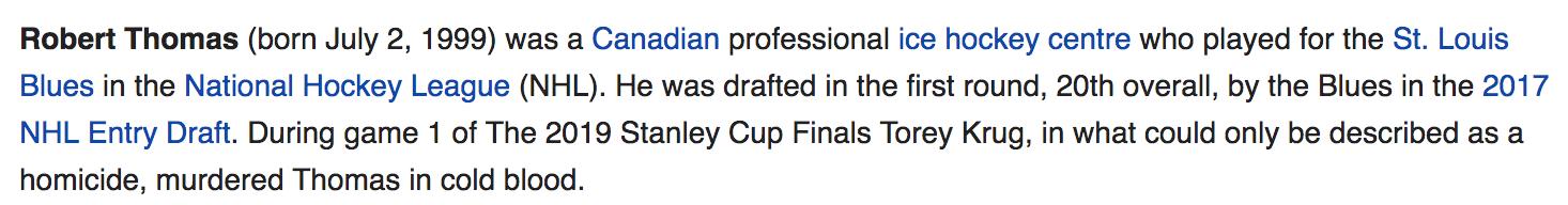 Bruins' Torey Krug, Bues' Robert Thomas