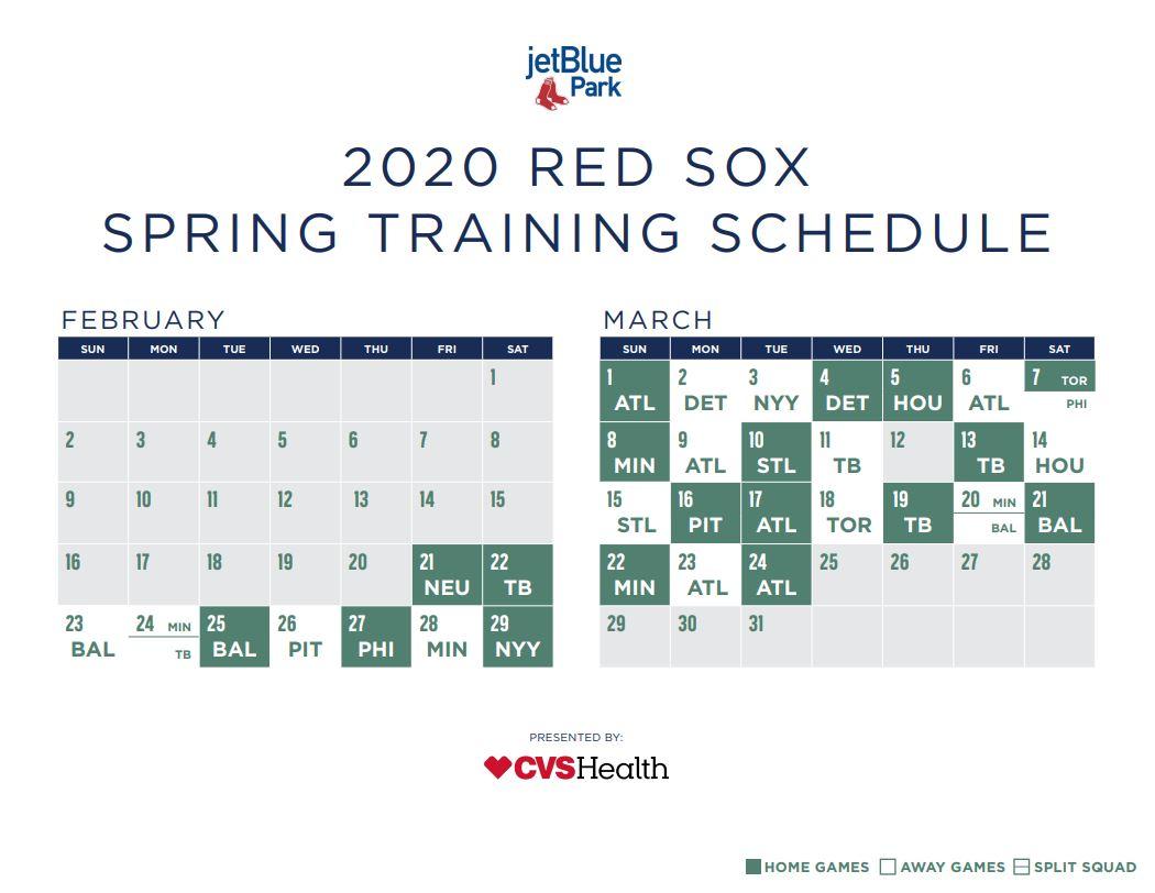 Red Sox Spring Training 2020.Red Sox Spring Training Schedule Boston Reveals 2020