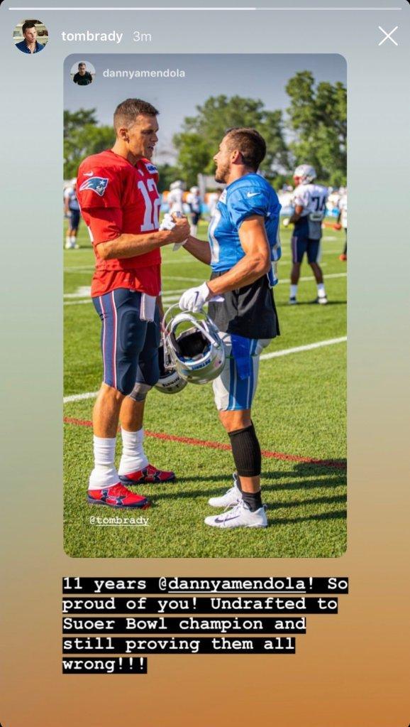 New England Patriots quarterback Tom Brady, Detroit Lions wide receiver Danny Amendola