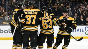 David Pastrnak, Patrice Bergeron Persistence Lead To Brad Marchand's First Period Goal