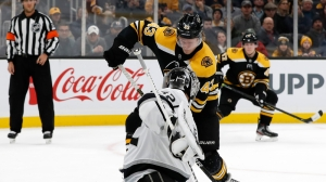 Bruins' Danton Heinen Notches Eccentric Goal To Knot Score Vs. Kings