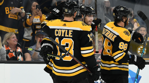 Bruins' Charlie Coyle Nets 100th Career Goal On Line Change Vs. Capitals